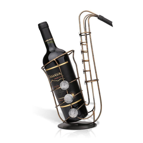 $39.58- Duolvqi Metal Sax Wine Rack Crafts Artwork Wine Holder Creative Bottle Holder Wine Bottle Stand Practical Decoration
