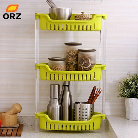 Orz 3 Layer Storage Shelf Rack Kitchen Bathroom Sundries Organizer Desk Corner Baskets Seasoning Bottle Storage Holder