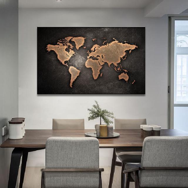 Buy 1 pcsset huge black world map paintings print on canvas hd 1594 1 pcsset huge black world map paintings print on canvas hd abstract gumiabroncs