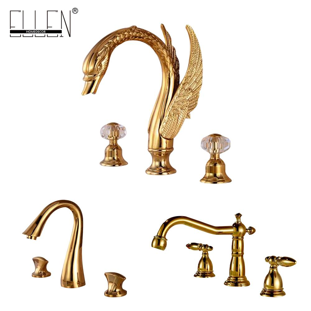 Bathroom Faucet 3 Hole Double Handle Golden Solid Brass Waterfall Basin Sink Mixer Tap Widespread