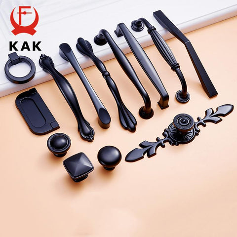$2.95- KAK Zinc Aolly Black Cabinet Handles American style Kitchen Cupboard Door Pulls Drawer Knobs Fashion Furniture Handle Hardware