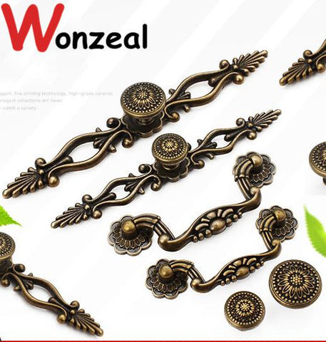 $3.78- Hole C:C: 78mm/96mm Single Hole Zinc Alloy Kitchen Furniture pulls vintage antique brass drawer knob handles