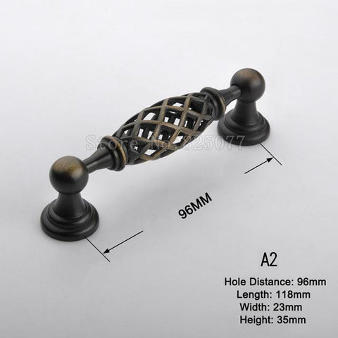 8PCS Birdcage Style Vintage Wardrobe Knobs Drawer Furniture Cupboard Kitchen Cabinet Door Pulls Handles and Knobs JF1393