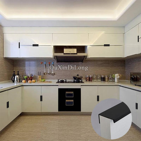 HOT 10PCS Modern Style Kitchen Door Furniture Handles Cupboard Drawer Wardrobe Cabinet Invisible Hidden Pulls Handles and Knobs