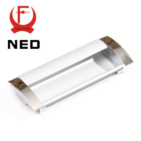 $5.28- NED Deluxe 128MM Aluminum Alloy Casting Modern Embed Knobs Kitchen Cabinet Cupboard Door Drawer Handles Wardrobe Hidden Pulls