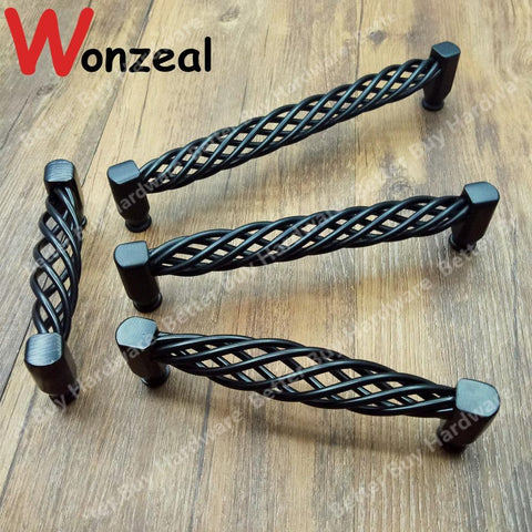 Hole CC 96/128/160/192mm Black Birdcage Style Furniture Handle drawer pull for Wardrobe dresser closet Cabinet door pullls