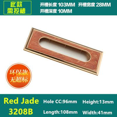 Hole CC 64/96/128mm Red Jade Color Furniture Metal hidden Handle drawer pull For kitchen cupboard Cabinet dresser closet