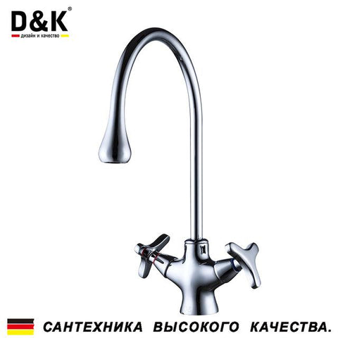 $89.68- D&K Kitchen Faucets Chrome Brass Dual Handles 360 Degree Rotation Hot and cold water tap DA1382441