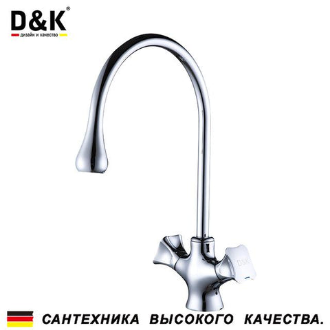 $94.37- D&K Kitchen Faucets Chrome Brass Dual Handles 360 Degree Rotation Hot and cold water tap DA1382401
