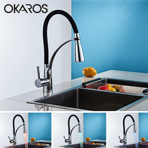 $98.01- OKAROS Kitchen LED Light Sink Faucet Brass Chrome Plated Kitchen Faucets Black Hot Cold Deck Mounted Bath Mixer Tap