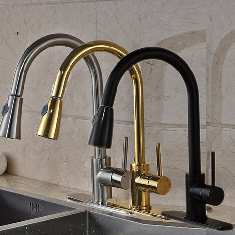$99.59- High Quality Best Price Single Handle Kitchen Faucet Pull Out Water Taps W/ 8 Hole Cover Plate