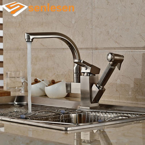 New Arrival Pull Out Sprayer Gun Brushed Nickel Single Handle Kitchen Sink Mixer Faucet