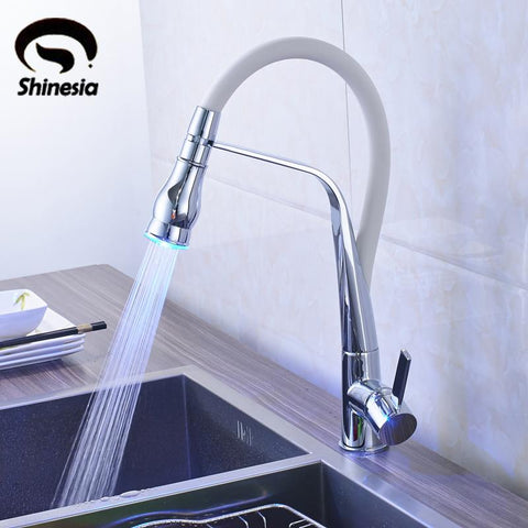 $149.18- Chrome LED Light Solid Brass Vessel Sink Mixer Tap Kitchen Faucet Single Handle Hole Deck Mounted