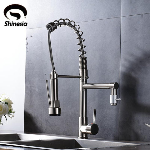 Nickel Brushed Kitchen Sink Faucet 360 Degree Rotating Mixer Tap Hot & Cold Water Countertop Tap