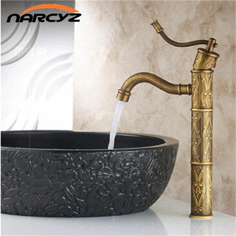$91.31- Luxury carving Tall Spout Bathroom Kitchen Basin Faucet Antique Pattern Mixer Tap 8001
