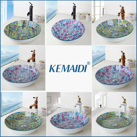 $87.92- KEMAIDI ORB Black Faucet Glass Washbasin Vessel Lavatory Basin Bathroom Sink Bath Combine Brass Vessel Vanity Tap Bathroom Mixer