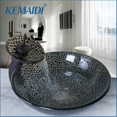 KEMAIDI Hand Painting Bathroom Black Art Washbasin Tempered Glass Vessel Sink W/ Waterfall Oil Rubbed Bronze Faucet Set