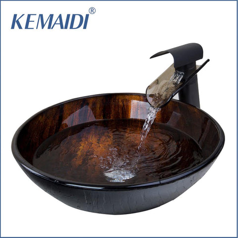 $212.50- KEMAIDI New Brand Tempered Glass Basin Sink Oil Rubbed Bronze Waterfall Faucet Tap Bathroom Water Drain Bathroom Sink Set