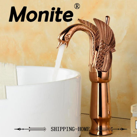 $107.08- Durable Solid Brass Bathroom Faucet Basin Faucet Pink GoldPlated Single Hole torneira Modern Swan Design Mixer Taps