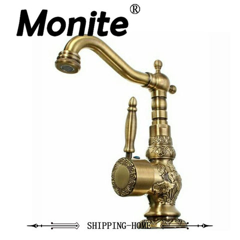 $113.90- 360 Swivel Kitchen Faucets Antique Brass Mixer Tap Bathroom Basin Mixer Hot Cold Tap Ceramic Plate Spool Faucet