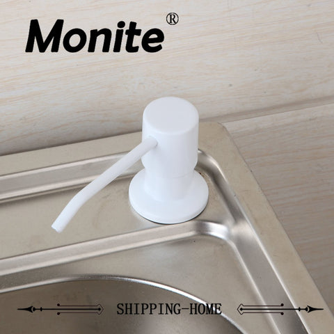 $19.69- MONITE White Soap Dispenser Kitchen Bathroom Sink Faucet Shampoo Shower Lotion New Liquid Soap Dispenser