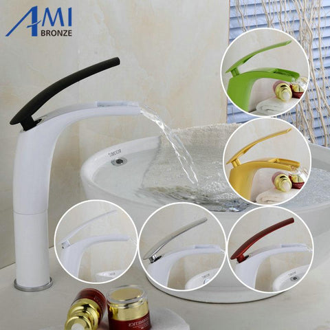 $86.63- Antique Brushed Newly Colorful Painted Basin Faucets Hot&Cold Mixer Bathroom Basin Tap Brass Gold/Chrome/White/Red Faucet Crane