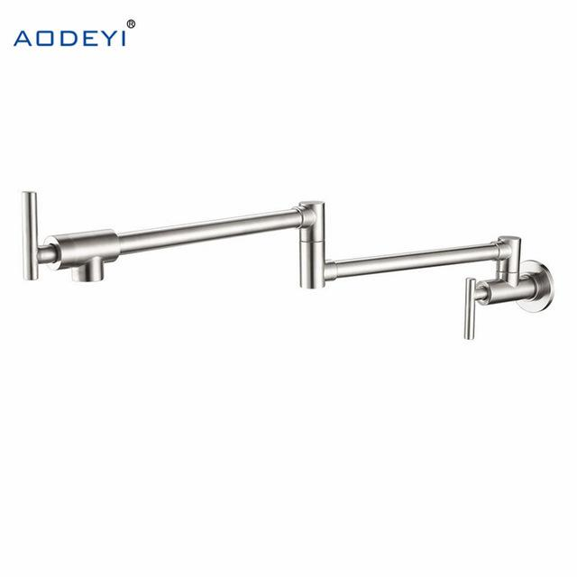 100% Solid Brass Pot Filler Tap Wall Mount Kitchen Faucet Single Cold Single Hole Tap Chrome Nickel Alba Black