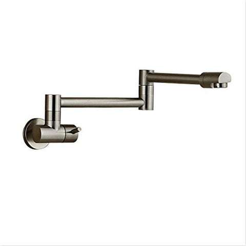 $88.03- Contemporary Simple Type Wall Mounted Chrome Or Brushed Brass Kitchen Faucet Single Handle For Cold Water Tap pot filler faucet