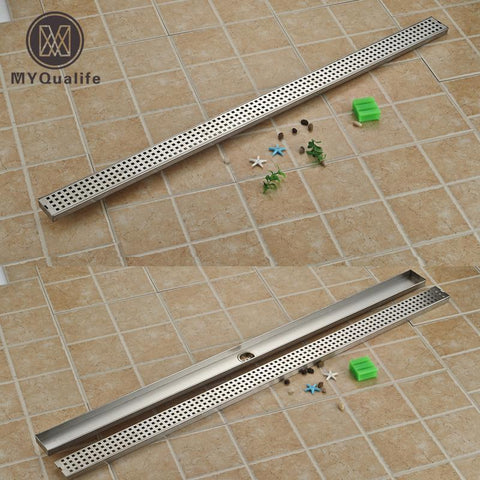 $170.85- Brushed Nickel Linear Shower Drain Vertical Bathroom Large Flow Drain Downside Outlet Long Floor Drain 120CM