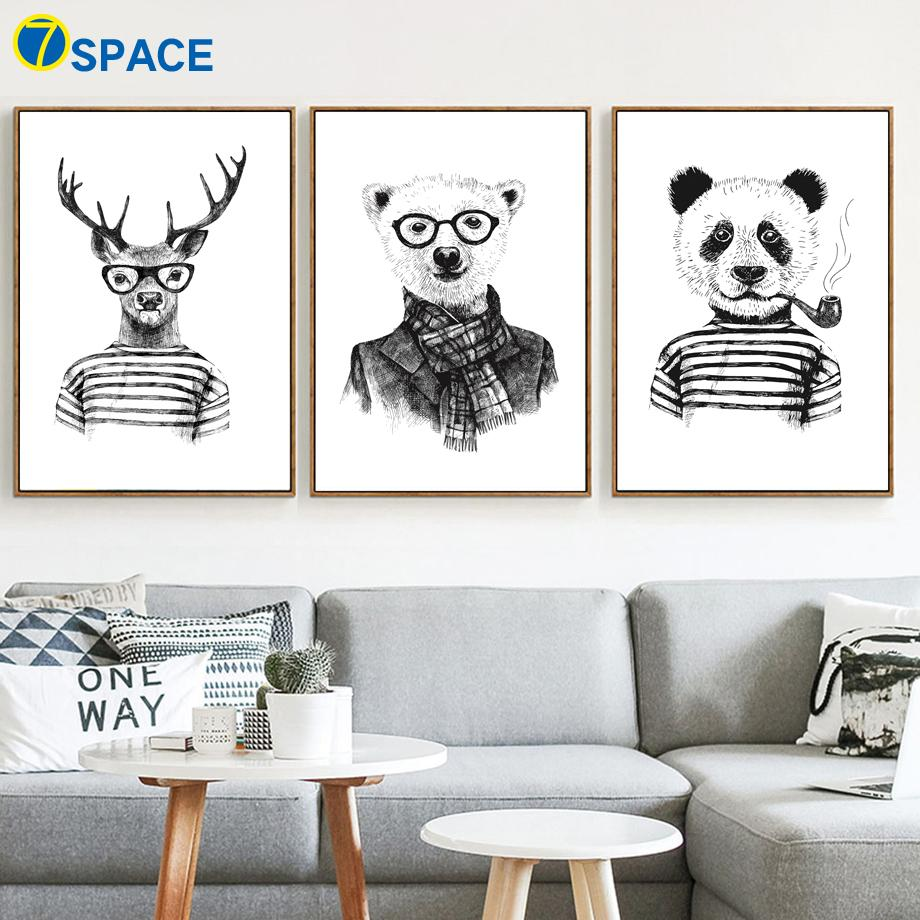 $10.26- 7Space Deer Panda Bear Wall Art Print Kids Poster Animals Black White Canvas Painting Home Decor Nordic Wall Pictures No Frame