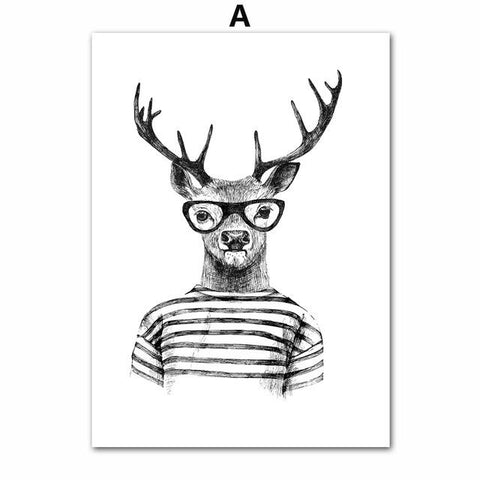 7Space Deer Panda Bear Wall Art Print Kids Poster Animals Black White Canvas Painting Home Decor Nordic Wall Pictures No Frame
