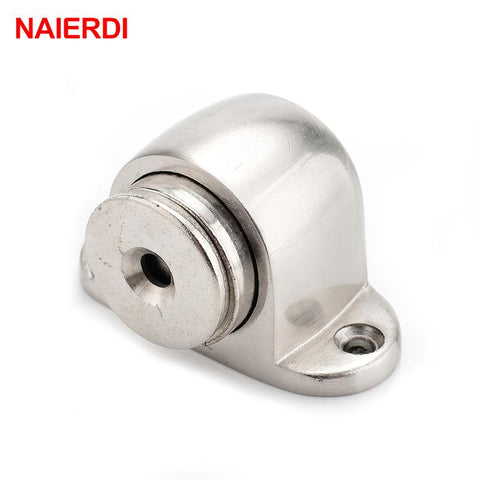 NAIERDI Zinc Alloy Door Stop Casting Powerful Floormounted Magnetic Holder 54mm*35mm Satin Nickel Brushed Door Stopper