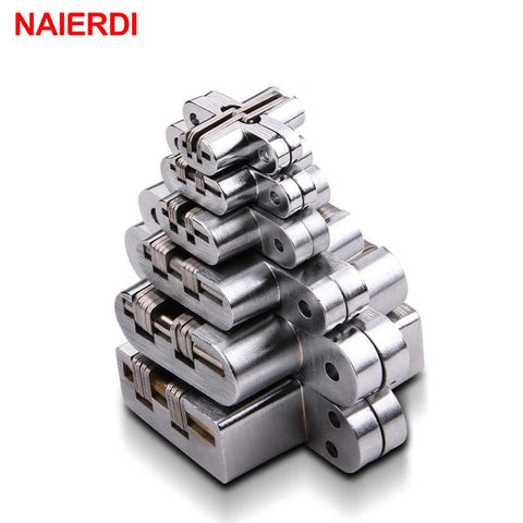 $11.25- 2PCS NAIERDI 304 Stainless Steel Hidden Hinges Seven Size Invisible Concealed Folding Door Hinge For Kitchen Furniture Hardware