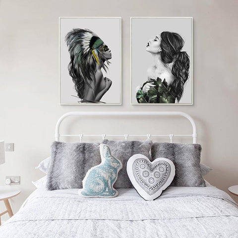 $6.25- Bianche Wall Nordic Fashion Native American Indian Girl Feathered Poster Wall Art Canvas Painting Picture For Home Decoration