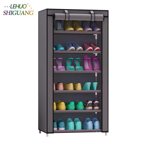 $66.77- Shoe cabinet 7layer 6grid Nonwoven fabrics large shoe rack organizer removable shoe storage for home furniture