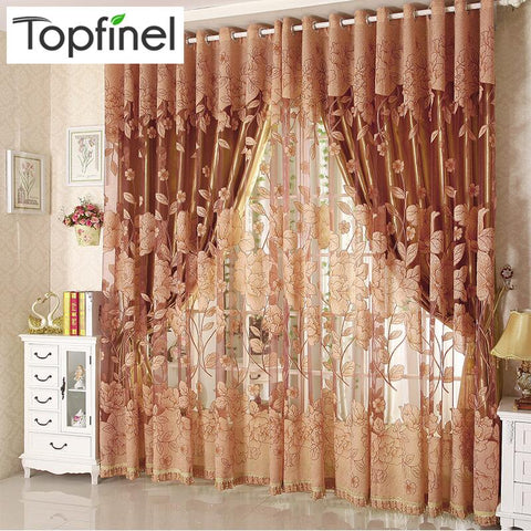 $22.98- Top Finel Modern Luxury Embroidered Sheer Curtains For Living Room Bedroom Kitchen Door Tulle Window Curtains Window Treatments