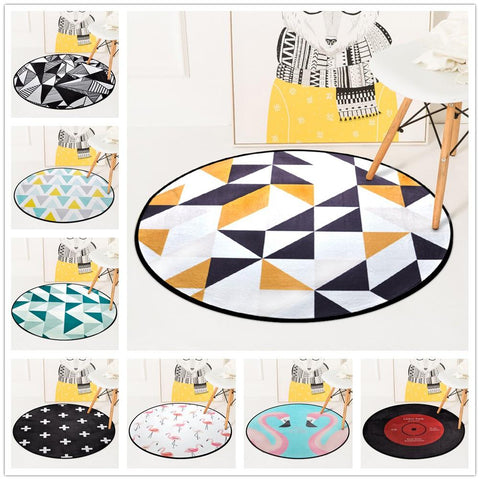 European Geometric Round Carpet For Living Room Children Bedroom Rugs Carpets Computer Chair Floor Mat Cloakroom Carpet