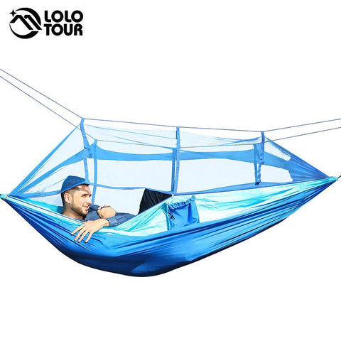 $53.29- Outdoor Camping Parachute Hammock Mosquito Net Flyknit Double Leisure Sleeping Hanging Chair Tent Travel Survival Army Green