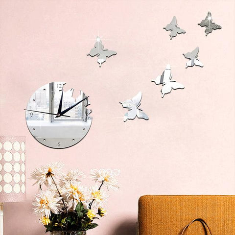 $11.57- Acrylic mirror wall stickers Home decoration accessories 3D stereo butterfly decorative mirror clock silver free shipping