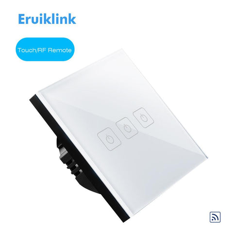 $32.40- Eruiklink Eu Type 3 Gang 1 Way Glass Touch Panel Rf433 Remote Control Switch Fireproof Lighting Single Firewire Wall Switch