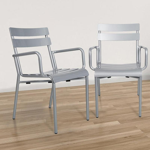 $275.16- 2pcs Aluminum Lightweight Chairs W/ Armrest Patio Restaurant Balcony Dining Room Chairs Stackable Indoor Outdoor Use 3 Colour