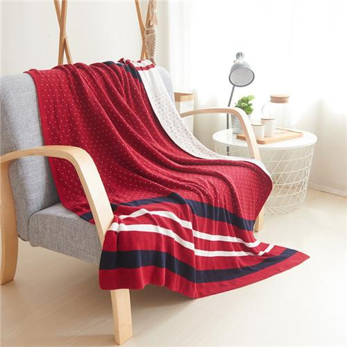 $98.56- 130X160Cm Jacquard Knitted Blankets British Style Cotton Thread Blanket Office/Airplane/Home Throw Blanket