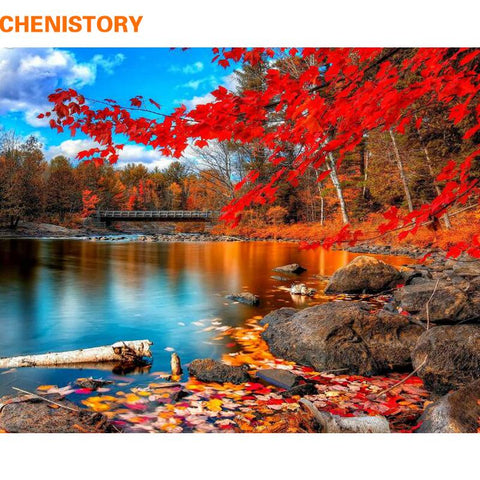 $14.79- Chenistory Red Forest Diy Painting By Numebrs Landscape Picture By Numbers Modern Wall Art Canvas Painting Unque Gift Artworks