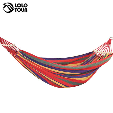 $51.46- 250*150Cm 2 People Outdoor Canvas Camping Hammock Bend Wood Stick Steady Hamak Garden Swing Hanging Chair Hangmat Blue Red