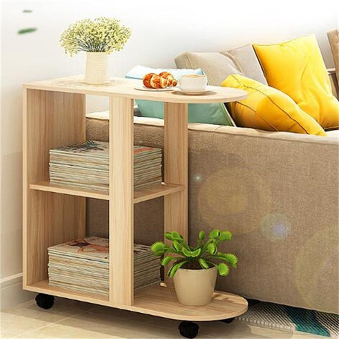 60X30X66Cm Wood Bedside Table Modern Sofa Side Table Living Room Storage Cabinet W/ Wheels