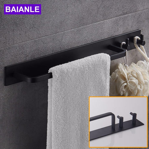 $31.50- Black Space Aluminum Towel Bar W/ Double Robe Hooks Wall Mounted Bathroom Accessories Towel Rack Towel Shelf W/ Hooks