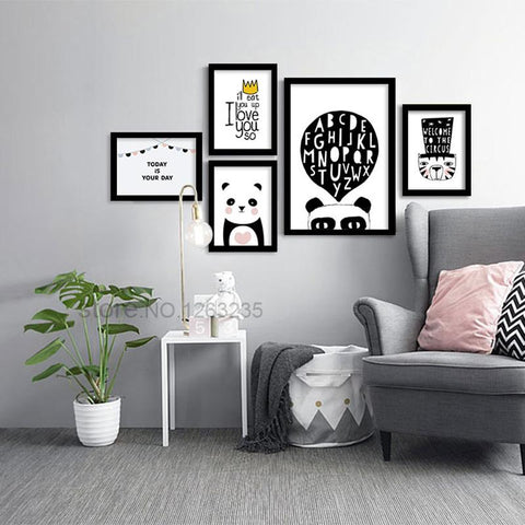 $7.43- Cartoon Animal Picture Panda Poster Kids Room Nursery Pictures Posters Prints Cuadros Nordic Style Kids Decoration Unframed