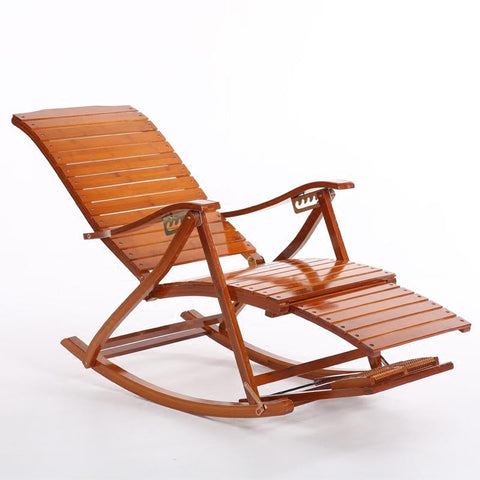 Comfortable Relax Bamboo Rocking Chair W/ Foot Rest Design Living Room Furniture Adult Lounge Chair Recliner Indoor/Outdoor