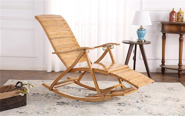 $240.64- Comfortable Relax Bamboo Rocking Chair W/ Foot Rest Design Living Room Furniture Adult Lounge Chair Recliner Indoor/Outdoor