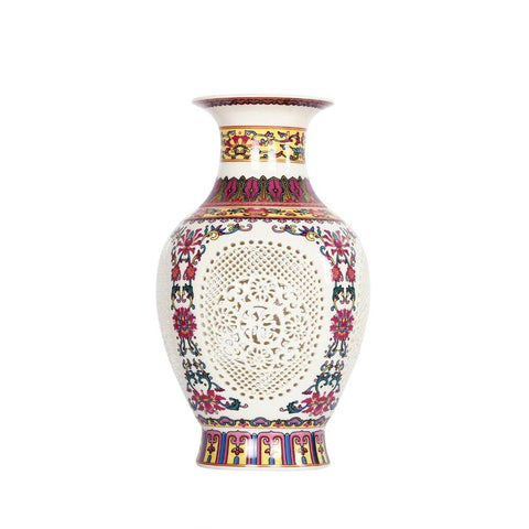 $67.30- Antique ChineseStyle Palace Restoring Ancient Ways Jingdezhen Hollow White Ceramic Vase Decoration Flower Vases